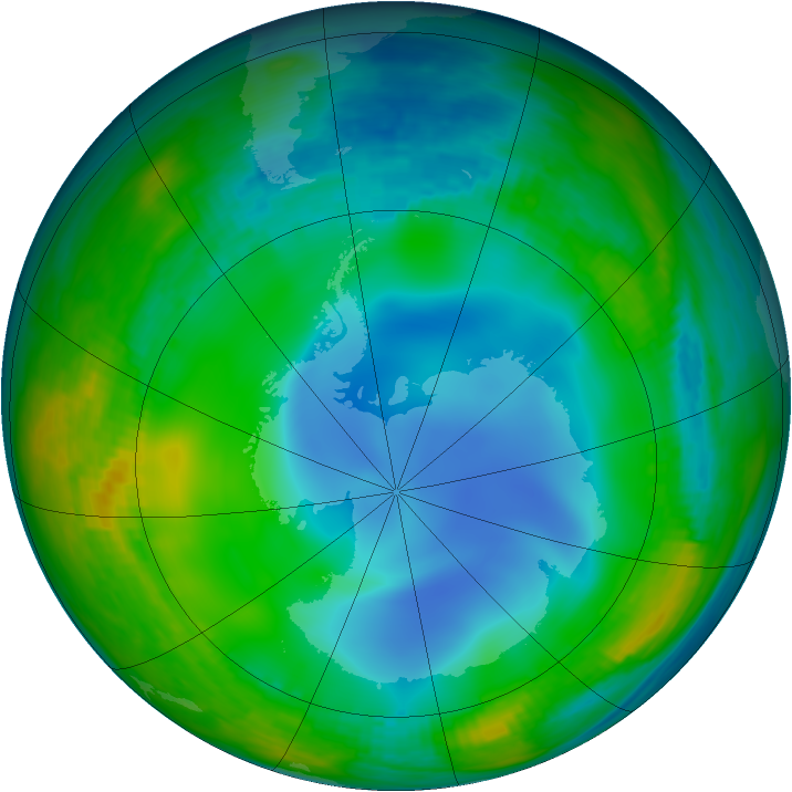 Antarctic ozone map for 28 June 1987