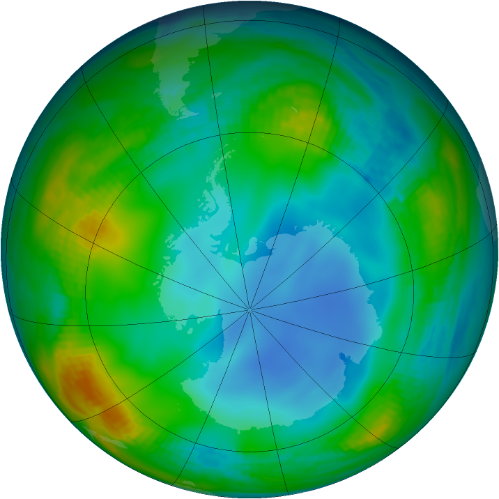Antarctic ozone map for 01 July 1987