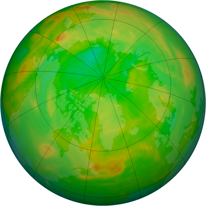 Arctic ozone map for 02 July 1987