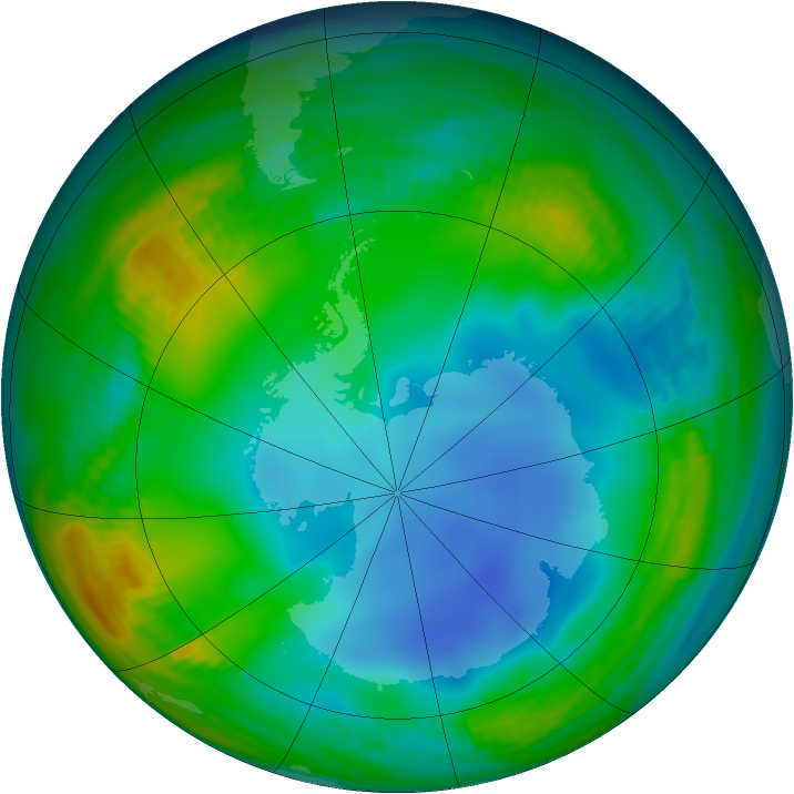Antarctic ozone map for 02 July 1987