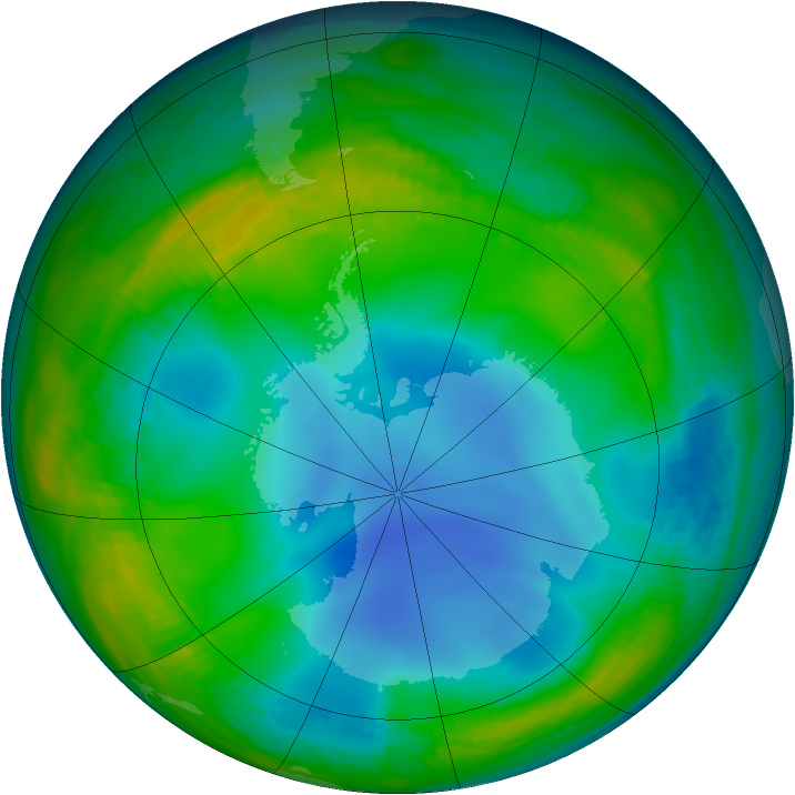 Antarctic ozone map for 04 July 1987
