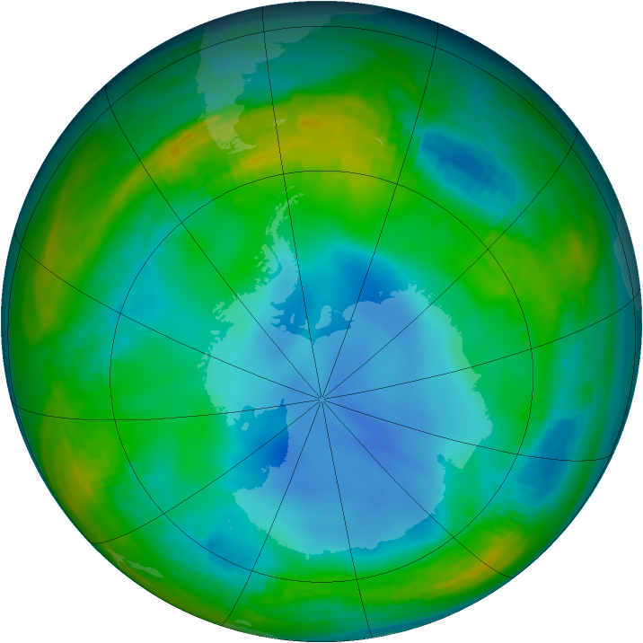 Antarctic ozone map for 05 July 1987