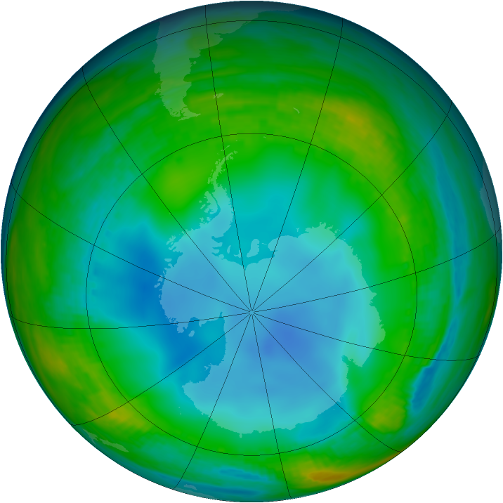 Antarctic ozone map for 08 July 1987