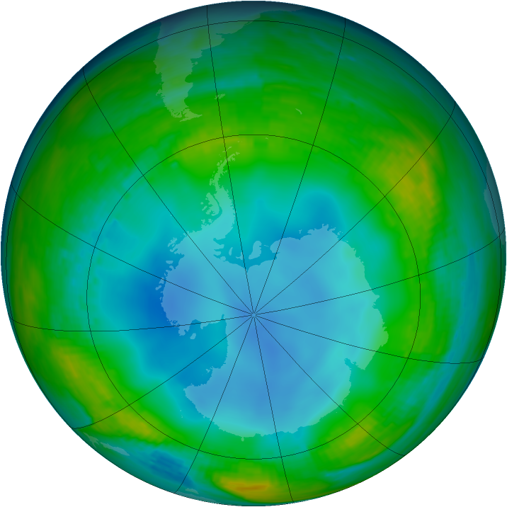 Antarctic ozone map for 09 July 1987