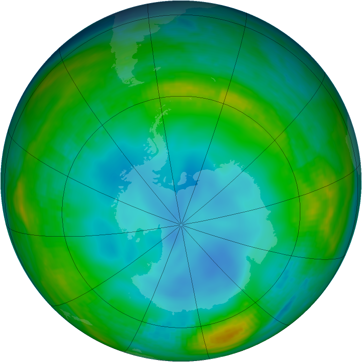 Antarctic ozone map for 12 July 1987