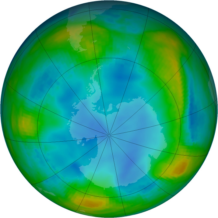 Antarctic ozone map for 16 July 1987
