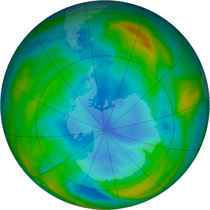 Antarctic ozone map for 20 July 1987