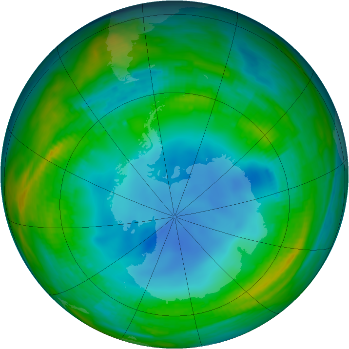 Antarctic ozone map for 25 July 1987