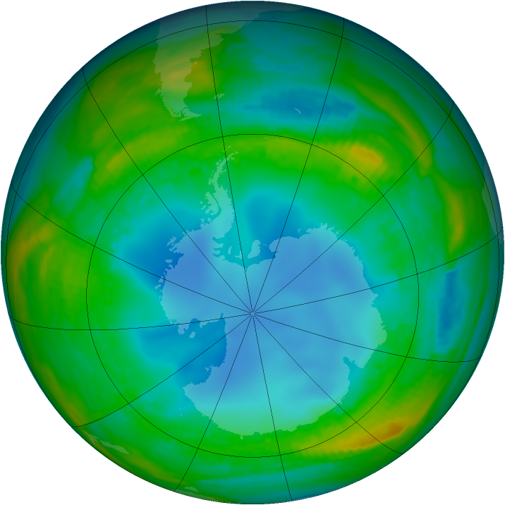 Antarctic ozone map for 26 July 1987