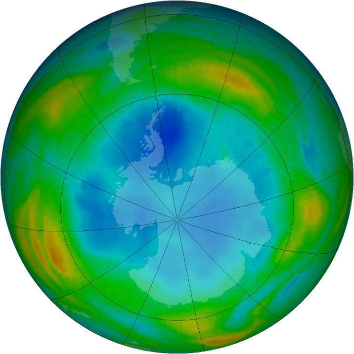 Antarctic ozone map for 29 July 1987