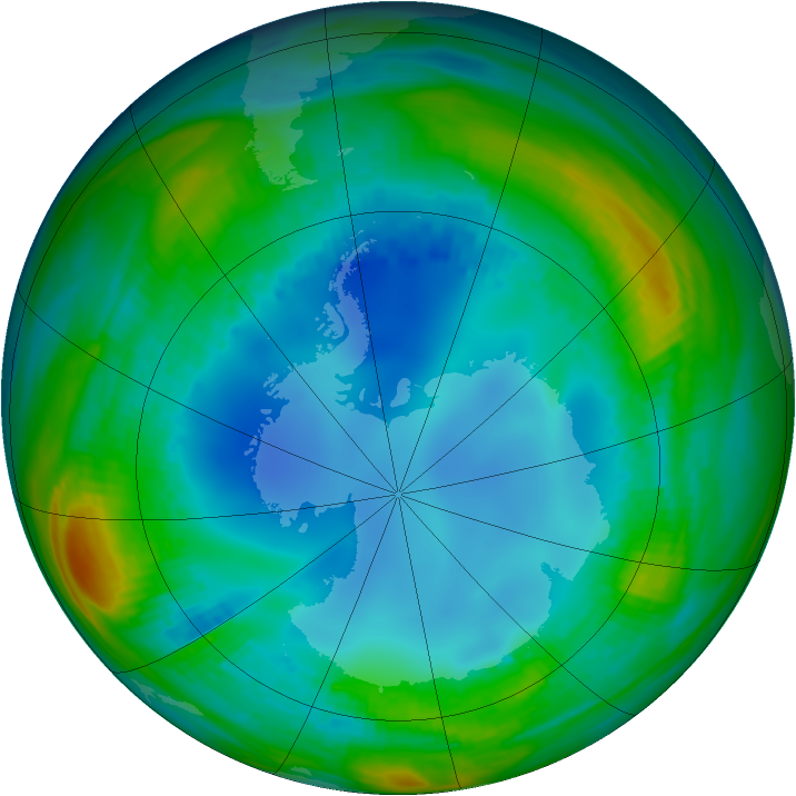 Antarctic ozone map for 30 July 1987