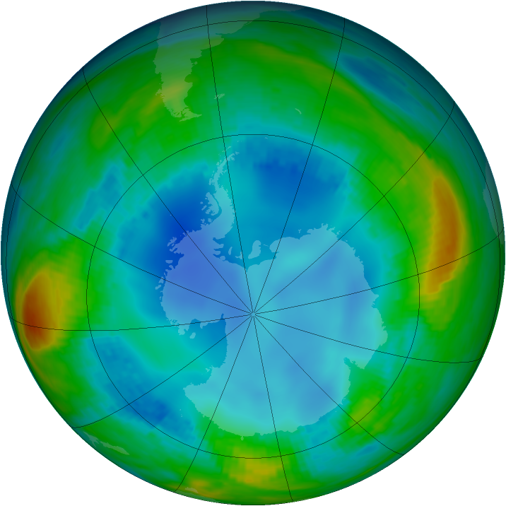 Antarctic ozone map for 31 July 1987