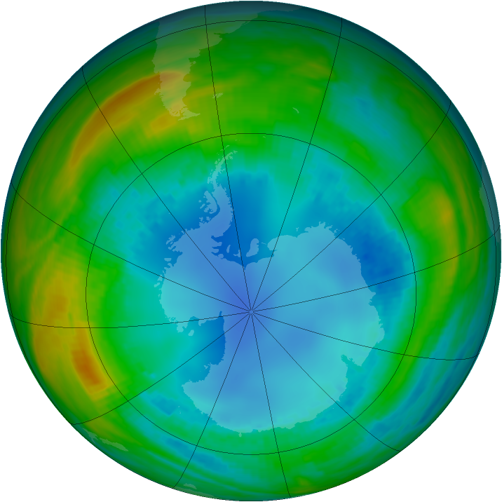 Antarctic ozone map for 12 August 1987