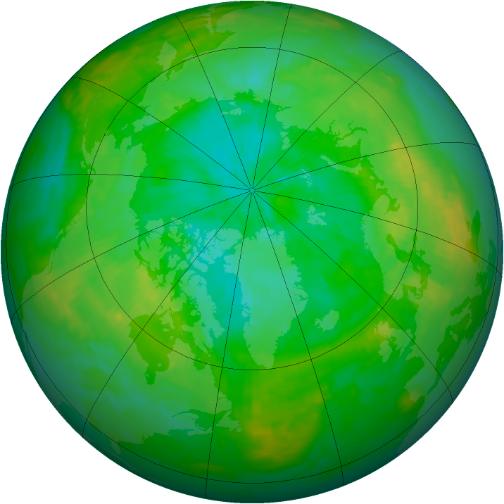 Arctic ozone map for 14 August 1987