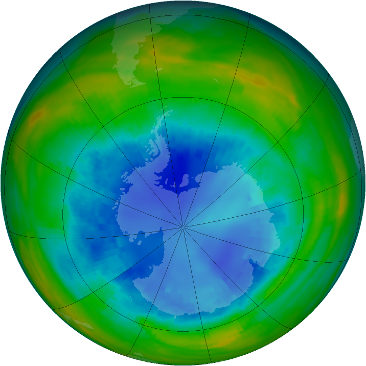Antarctic ozone map for 28 August 1987