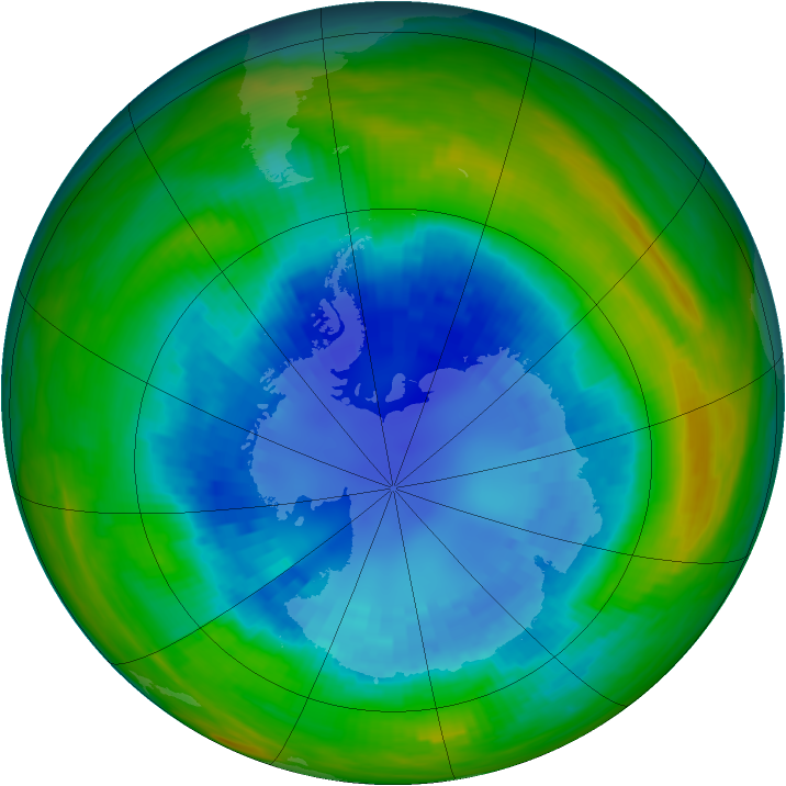 Antarctic ozone map for 01 September 1987