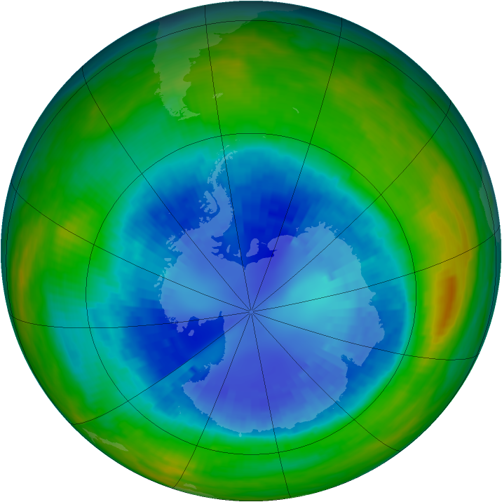 Antarctic ozone map for 03 September 1987