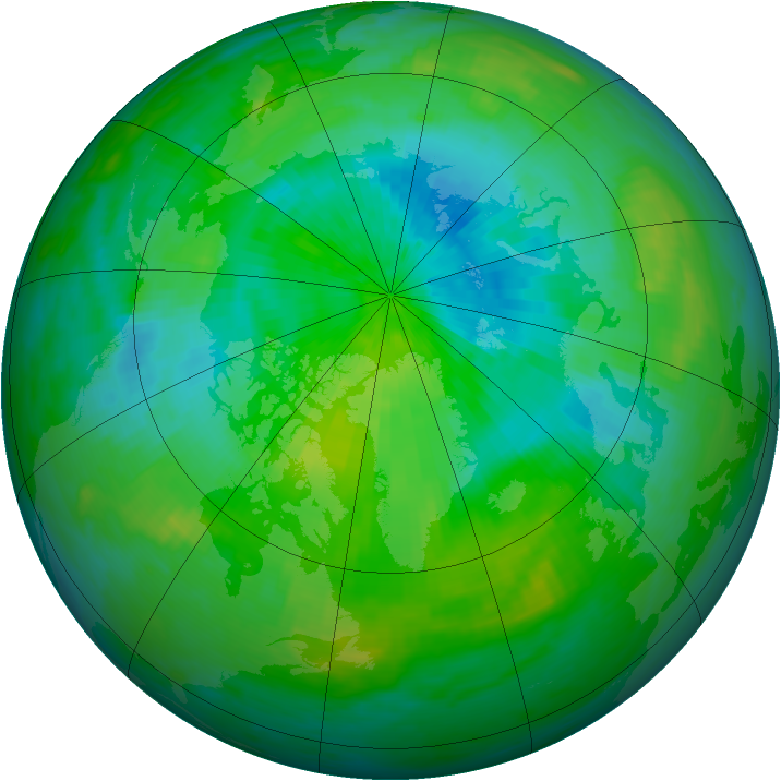 Arctic ozone map for 04 September 1987