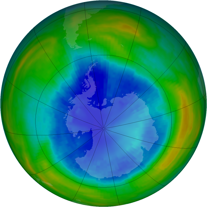 Antarctic ozone map for 05 September 1987