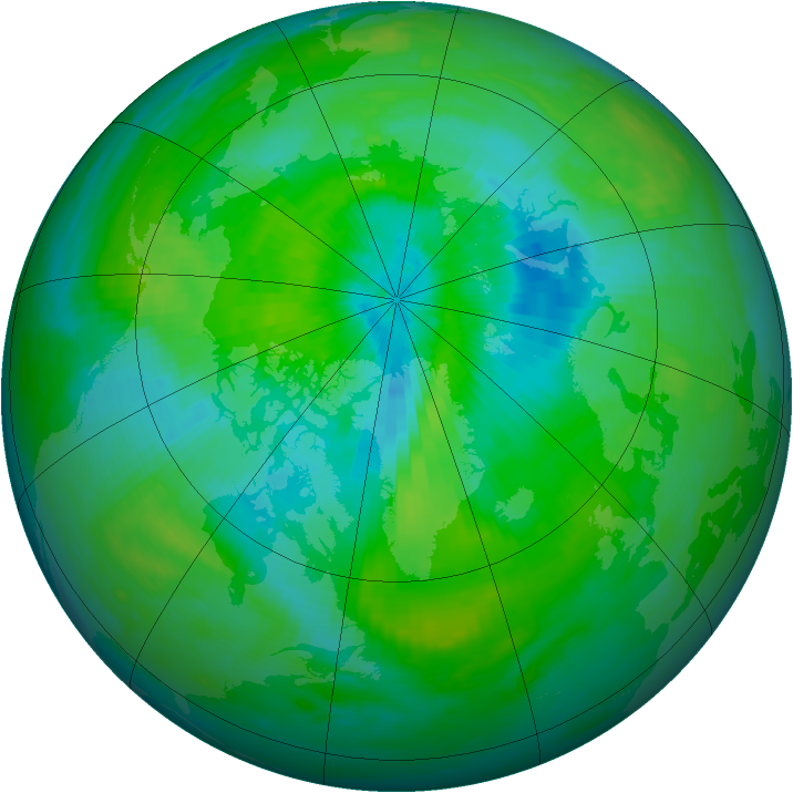 Arctic ozone map for 10 September 1987