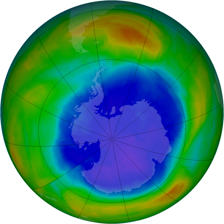 Antarctic ozone map for 20 September 1987