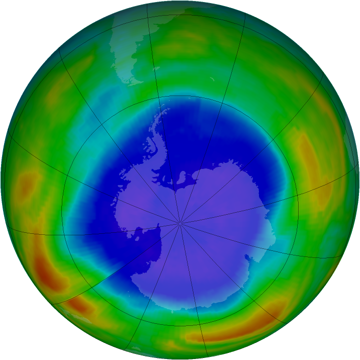Antarctic ozone map for 24 September 1987
