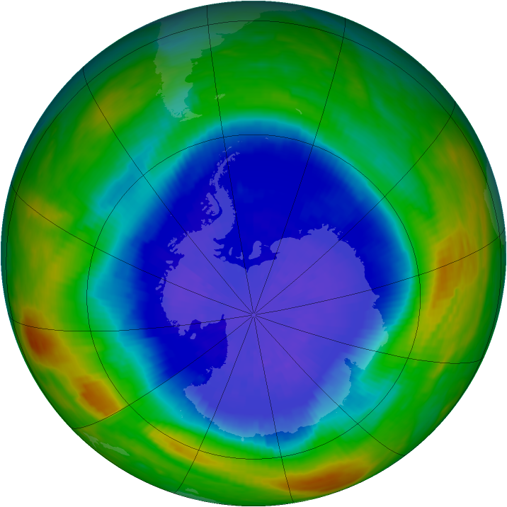 Antarctic ozone map for 25 September 1987