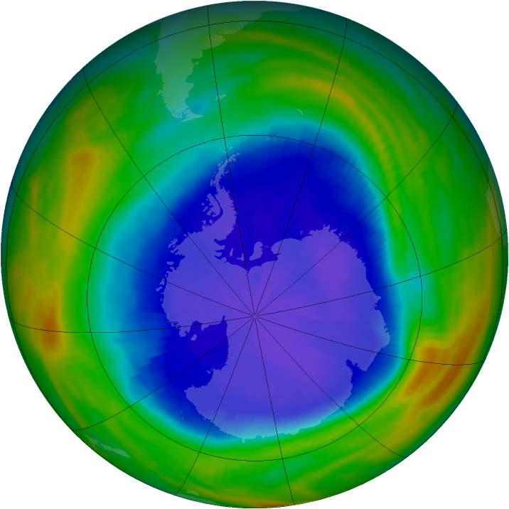 Antarctic ozone map for 27 September 1987