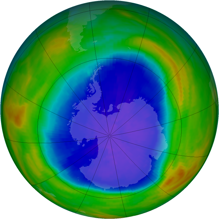 Antarctic ozone map for 28 September 1987