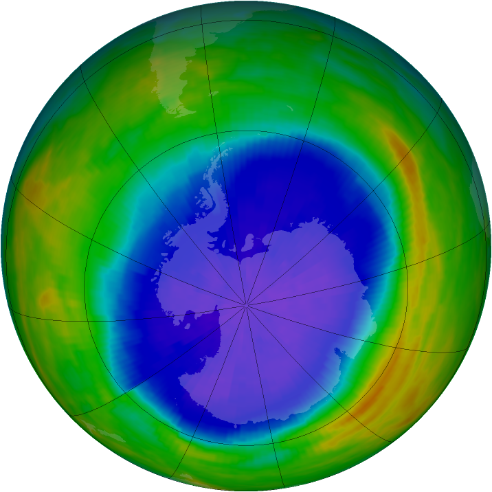 Antarctic ozone map for 29 September 1987