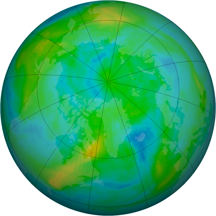 Arctic ozone map for 03 October 1987