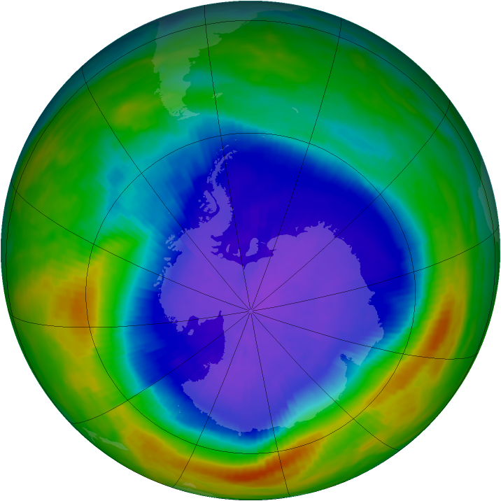 Antarctic ozone map for 05 October 1987