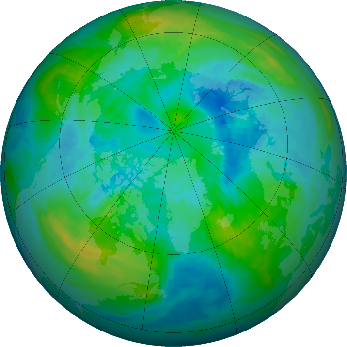 Arctic ozone map for 09 October 1987