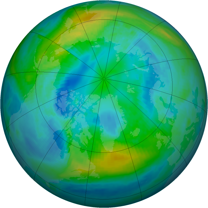 Arctic ozone map for 13 October 1987