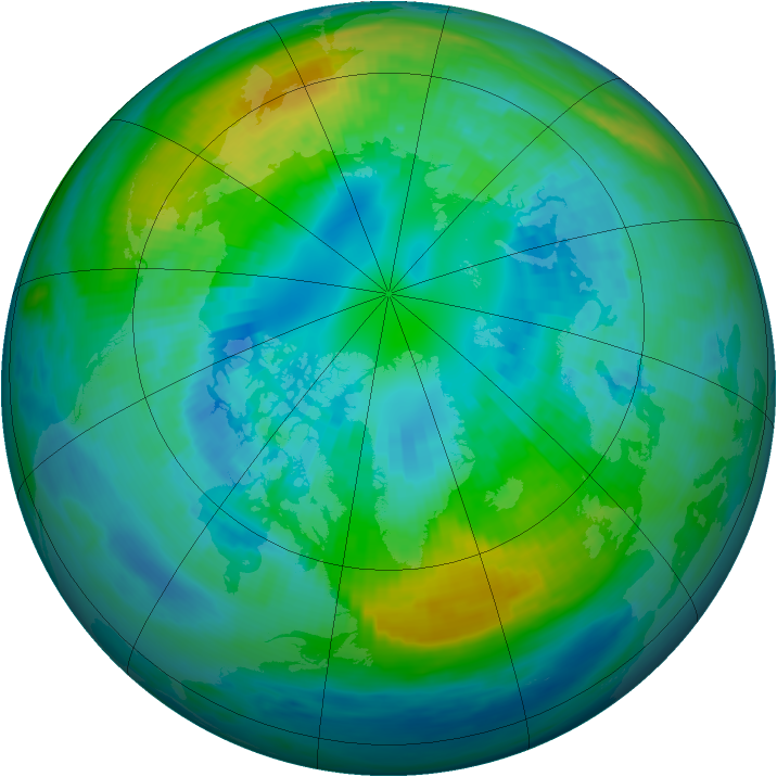 Arctic ozone map for 14 October 1987