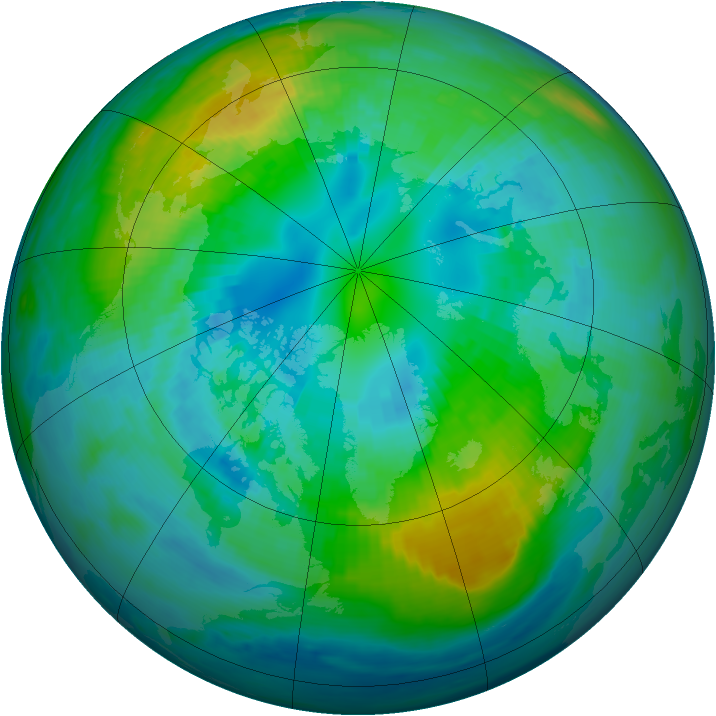 Arctic ozone map for 15 October 1987