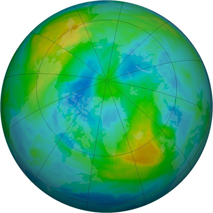 Arctic ozone map for 16 October 1987