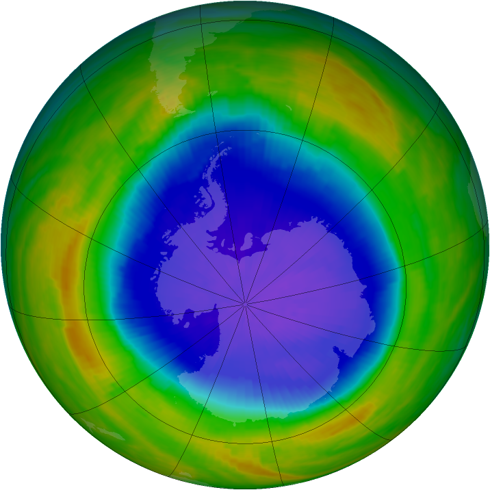 Antarctic ozone map for 20 October 1987