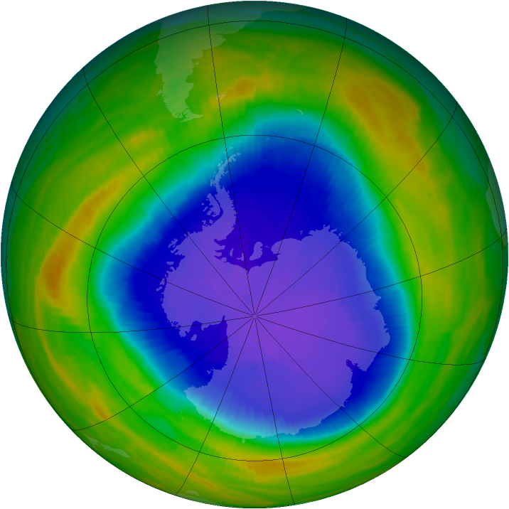 Antarctic ozone map for 21 October 1987