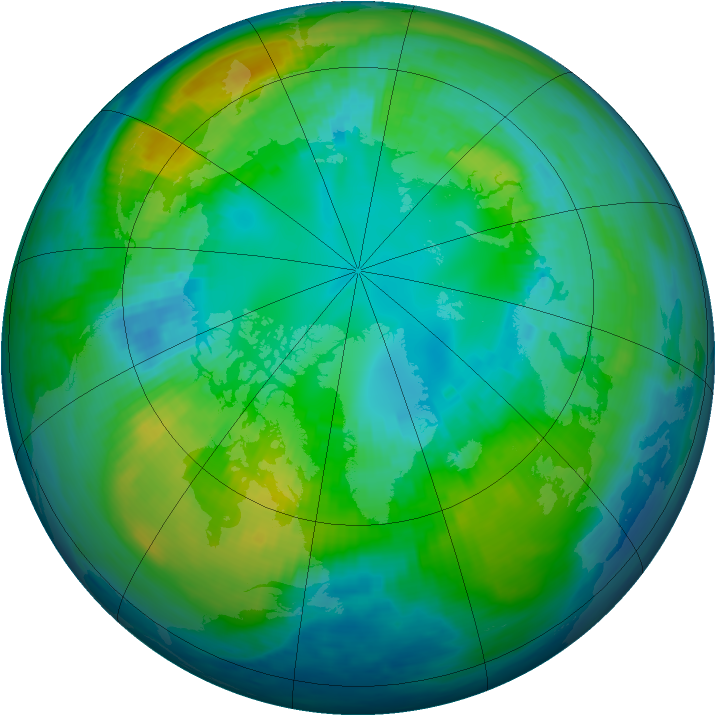 Arctic ozone map for 22 October 1987