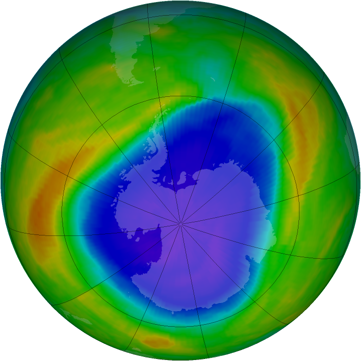 Antarctic ozone map for 27 October 1987