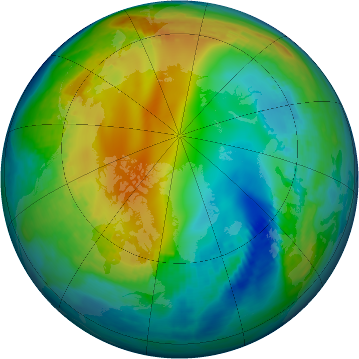 Arctic ozone map for 25 November 1987