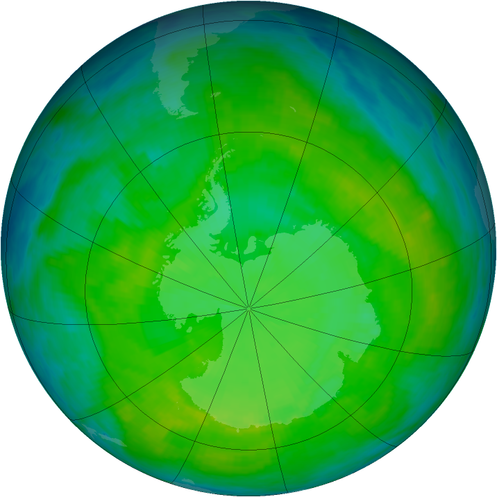 Antarctic ozone map for 19 December 1987