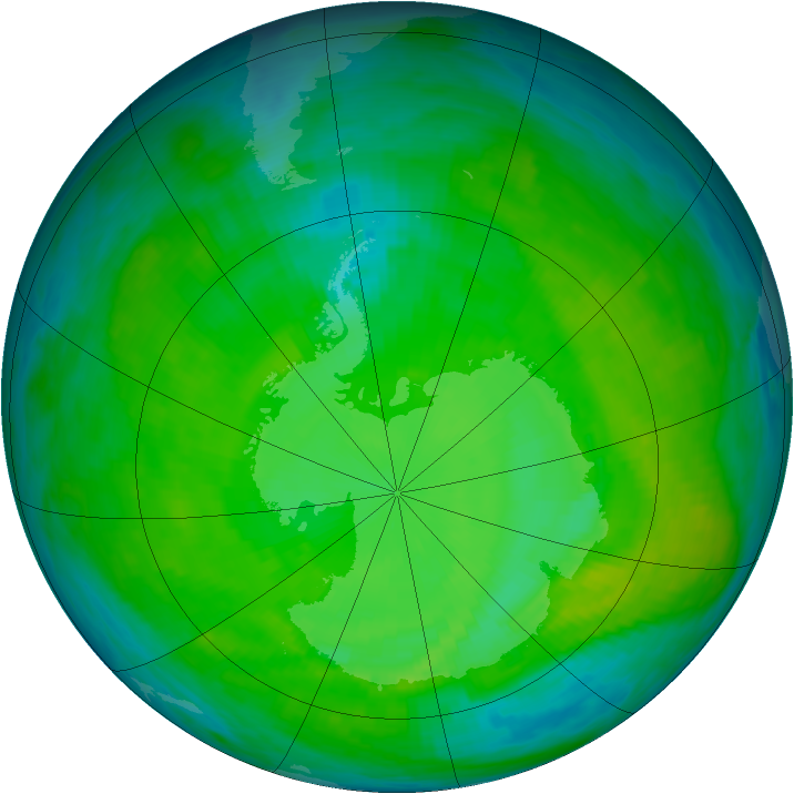 Antarctic ozone map for 22 December 1987