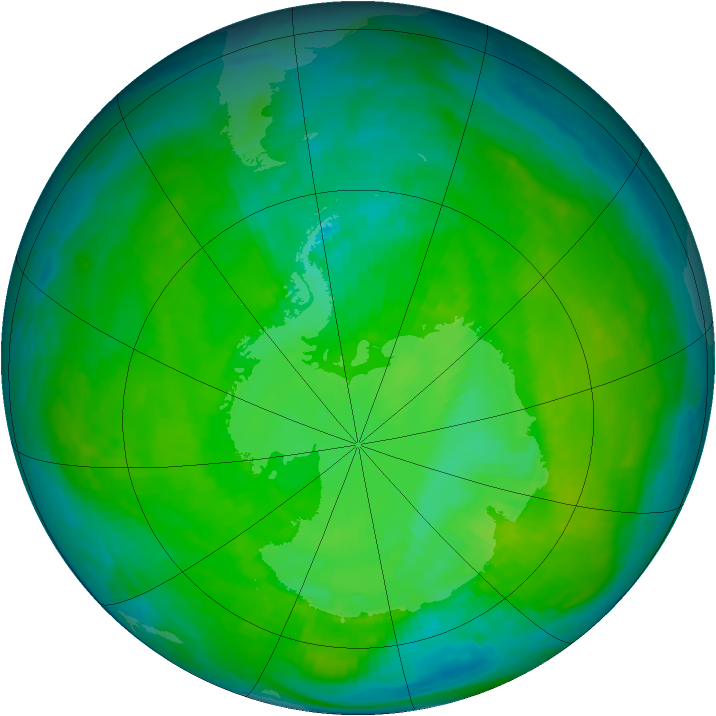 Antarctic ozone map for 23 December 1987