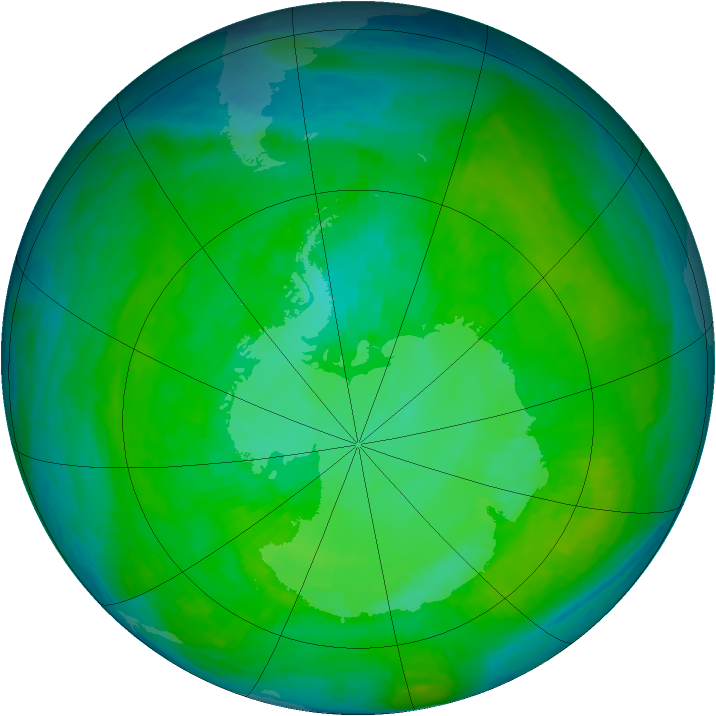 Antarctic ozone map for 30 December 1987