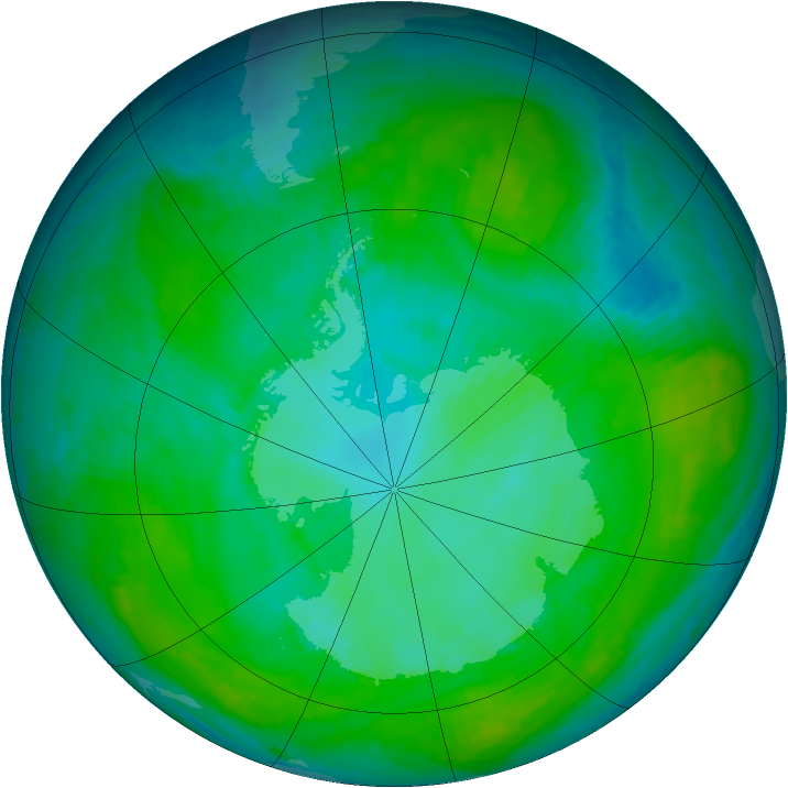 Antarctic ozone map for 08 January 1988