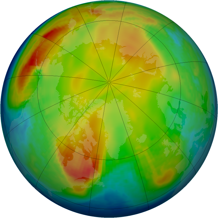 Arctic ozone map for 14 January 1988