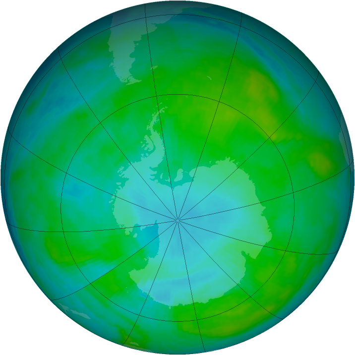 Antarctic ozone map for 24 January 1988