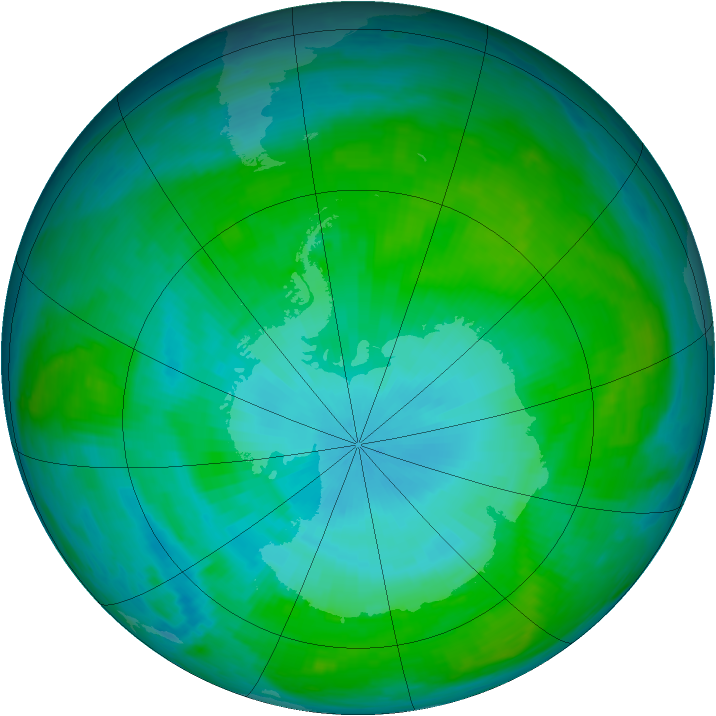 Antarctic ozone map for 26 January 1988